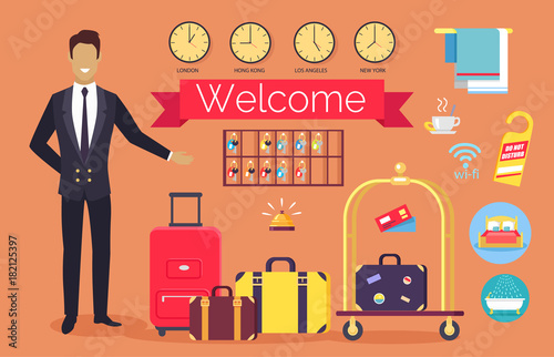 Fotografía  Welcome Hotel Services on Vector Illustration