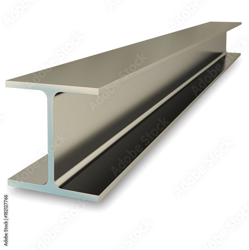 Steel flange beam isolated on white background. 3D rendering Wallpaper Mural