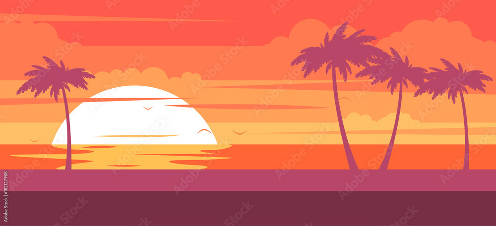 Fototapety, obrazy: Tropical beach with palm trees and sea - summer resort at sunset