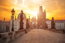 Scenic View Of Charles Bridge (Karluv Most) And Lesser Town Tower Prague Symbol At Sunrise, Czech Republic