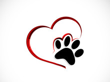 Paw In Red Heart