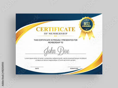 Certificate Of Membership Template With Blue And Golden Design And