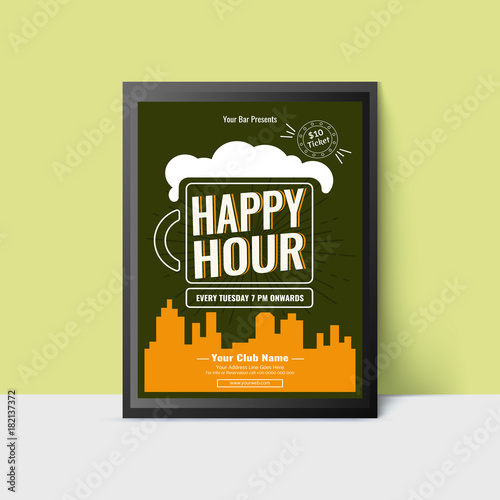 Happy Hour Template With Beer Mug For Web Poster Flyer Invitation