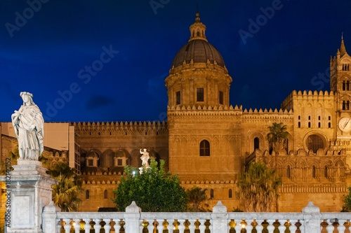 Garden Poster Palermo baroque cathedral church scenic view at night, Sicily, Italy