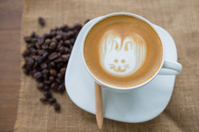 Easter Rabbit Drawing On Latte...