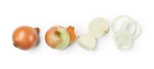 Fresh Raw Onion On White Backg...