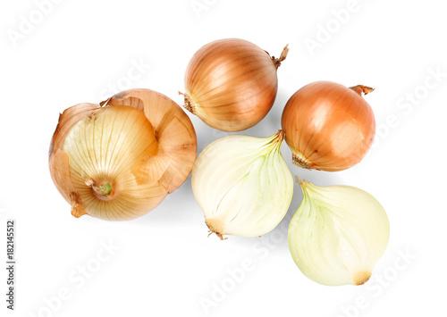 Fresh raw onion on white background