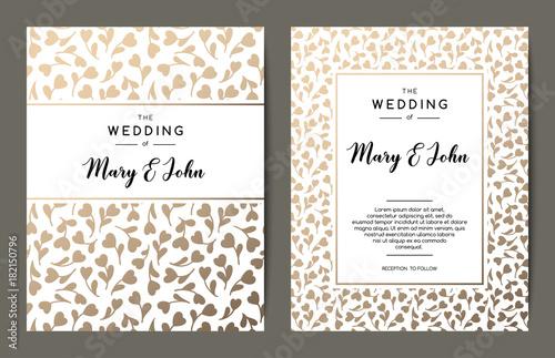 elegant wedding invitation backgrounds card design with gold floral