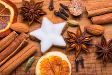 Christmas Spices  -  Flat Lay  -  Cinnamon, Anise, Cookie, Oranges And Other