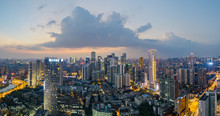 The Nightscape Of Chengdu Downtown At Night