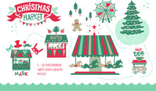 Christmas Market Illustration. Winter Time. Merry Christmas And Happy New Year On Amusement Park, Winter Market, Festival, Fair. Christmas Tree Shops With Gifts, A Ferris Wheel And Carousel With Horse