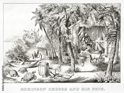 Fotomural Robinson Crusoe in his island with his pets after the shipwreck