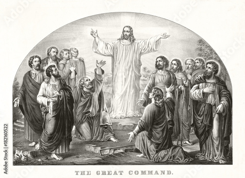 Fotografie, Obraz  Jesus Christ appearing to his disciples in a strong light and preaching his Love Great Commandment