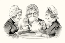 Three Elderly Smiling Women Dr...