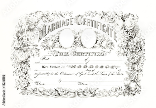 Reproduction of antique marriage certificate with floral frame. Old ...