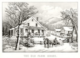 Antique illustration of an old farm house in winter. Mountains on background. Old illustration by Currier & Ives, publ. in New York, 1872