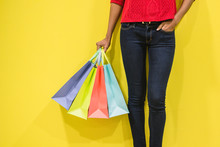 Woman Legs With Colorful Shopp...