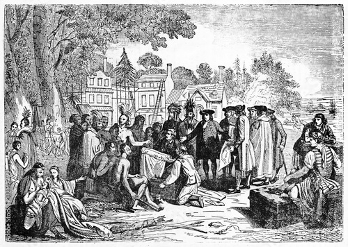 Photographie  Signature of treaty between William Penn and Lenape natives in Shackamaxon on an ancient beach with colonial houses on background