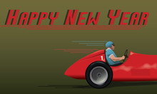 Happy New Year Old Racing Car