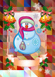Holiday christmas card with funny snowman on a colorful mosaic background.