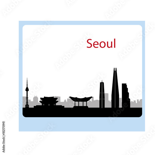 Staande foto India Seoul city skyline