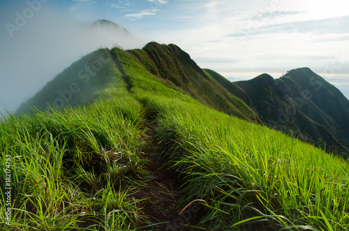 Fotobehang Donkergrijs beautiful fog mountain with sunlight in Kanchanaburi, thailand