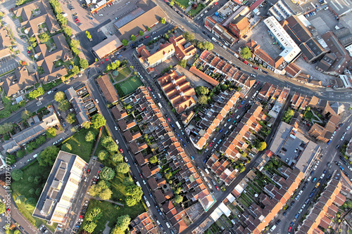 In de dag Luchtfoto Above the city. Aerial view of streets and houses in Bristol, England.