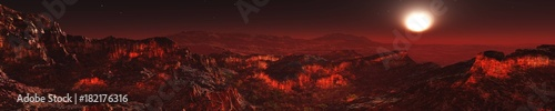 Spoed Foto op Canvas Bordeaux panorama of Mars, Martian landscape, surface of Mars, banner