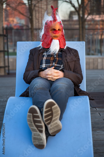 Rooster Man Lounging Canvas Print