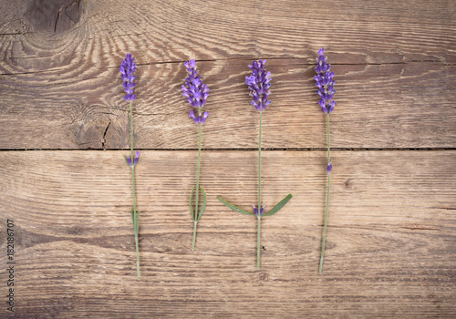 lavender-on-rustic-wooden-background-top-view
