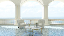 3d Render From Imagine Classic Luxury Balcony Sea View  Italy Mediterranean Armchair