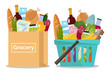 Grocery in a shopping basket and a paper bag. Vector illustration. Flat design.