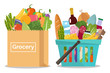 Grocery in a shopping basket and fruits and vegetables in a paper bag. Vector illustration. Flat design.
