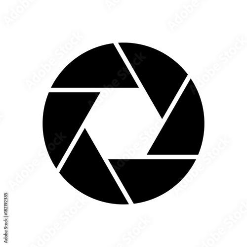 Photo Camera objective icon. Shutter closeup simbol