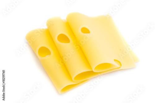 Käsescheiben Käse scheiben mit Loch isoliert auf weißen Hintergrund