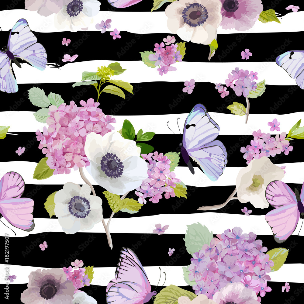 Seamless Pattern with Blooming Hydrangea Flowers and Flying Butterflies in Watercolor Style. Beauty in Nature. Background for Fabric, Textile, Print and Invitation. Vector illustration
