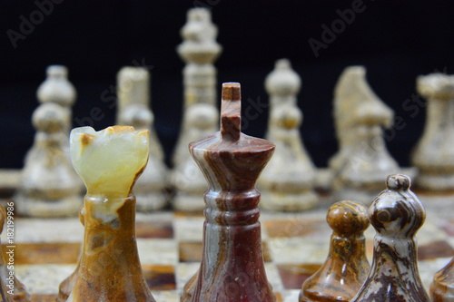 Photo Alabaster chess pieces