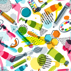 Art materials for craft design and creativity. Vector doodle seamless pattern. Creative background with pencils, brushes, watercolor paints and other items for handmade activity.