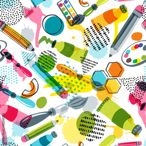 Art materials for craft design and creativity. Vector doodle seamless pattern. Creative background with pencils, brushes, watercolor paints and other items for handmade activity. © Betelgejze