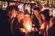 canvas print picture - Friends With Sparklers At The New Year Party