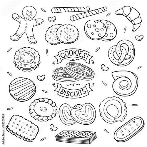 Doodle cookies and Biscuits Canvas