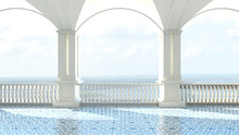 3d Render From Imagine Classic Luxury Balcony Sea View  Italy Mediterranean Clear