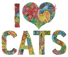 Words I LOVE CATS. Vector Deco...