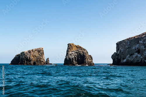 A grouping of volcanic rock formations at East Anacapa Island in Channel Islands National Park off the coast of Ventura, California.