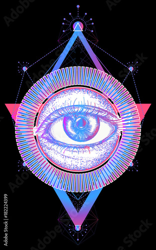 Magic All Seeing Eye Color Tattoo Art Vector Freemason And