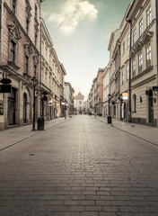 FototapetaFlorian street in historic city center of Krakow, Poland