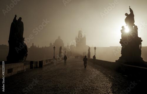 Black and white panorama of Charles Bridge in Prague, Czech Republic Poster