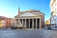 Ancient Roman Pantheon Temple, Front View - Rome, Italy