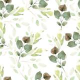 Jasny wzór akwarela z liśćmi. - 182226326