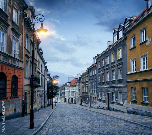 Old town street in Warsaw, Poland